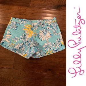 Lilly Pulitzer Adie Shorts, Blue Daisy, Size 2